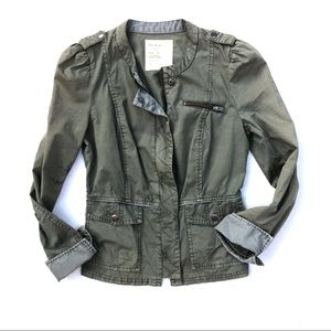 Free People Military Utility Style Zip Up Jacket